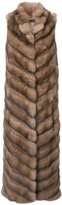 Manzoni 24 sleeveless furry detail coat