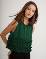 Cynthia Rowley Green Mini Ruffle Shell