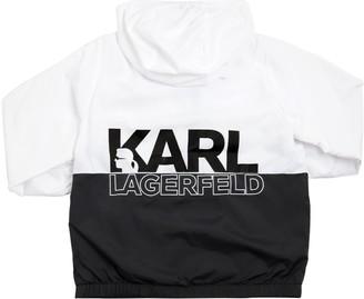 Karl Lagerfeld Paris COLOR BLOCK LOGO PRINT NYLON JACKET