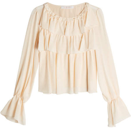 See by Chloe Silk Blouse with Flutter Details