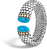John Hardy Women's Dot 23.5MM Kick Cuff in Sterling Silver and 18K Gold with Natural Arizona Turquoise