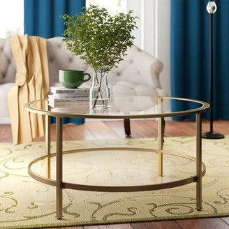 Three Posts Otha Coffee Table with Storage Table Base Color: Gold