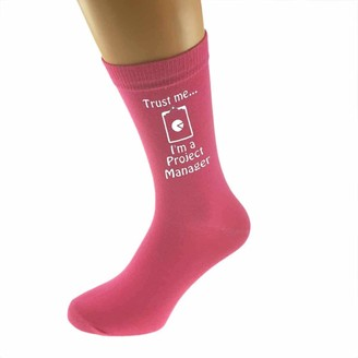 Ashton and Finch Trust me I'm a Project Manager Pink Ladies Socks | For Birthdays Weddings And Special Occasions | Fun Personalised Socks | One Size Fits All