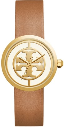 Tory Burch REVA WATCH, LUGGAGE LEATHER/GOLD-TONE, 36 MM