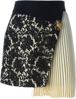 Fausto Puglisi pleated panel asymmetric lace skirt