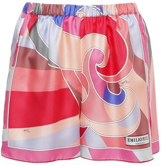 Emilio Pucci Printed Silk Twill Mini Shorts