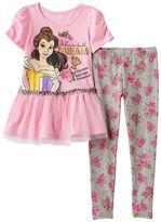Disney Disney's Beauty & the Beast Girls 4-6x Belle & Chip Top & Floral Leggings Set