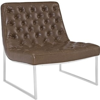 """Modway 32"""" W Faux Leather Lounge Chair Upholstery: Brown Faux Leather"""