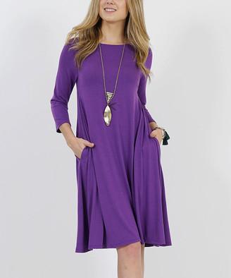 42pops 42POPS Women's Casual Dresses PURPLE - Purple Crewneck Three-Quarter Sleeve Straight-Hem Pocket Dress - Women