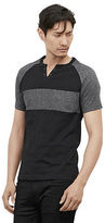 Kenneth Cole Short-Sleeve Grommet Striped Henley
