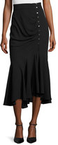Michael Kors Draped Side-Button Midi Skirt, Black