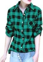 Allegra K Woman Roll Up Sleeves Buttoned Boyfriend Plaids Shirt