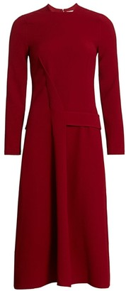Victoria Beckham Long-Sleeve Belted Crepe Midi Dress
