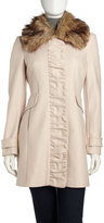 Nicole Miller Ruched-Front Faux Fur-Collar Coat