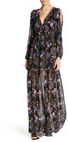 Lucca Couture Long Slit Sleeve Back Lace-Up Floral Dress