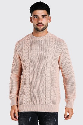 boohoo Mens Pink Cable Knitted Crew Neck Jumper, Pink