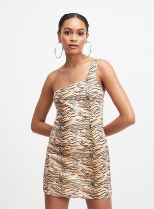 Miss Selfridge OH MY DAYS Tan Tiger Print Sequin Dress