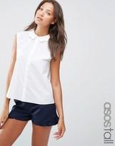 ASOS Tall ASOS TALL Sleeveless Scallop Collar White Shirt