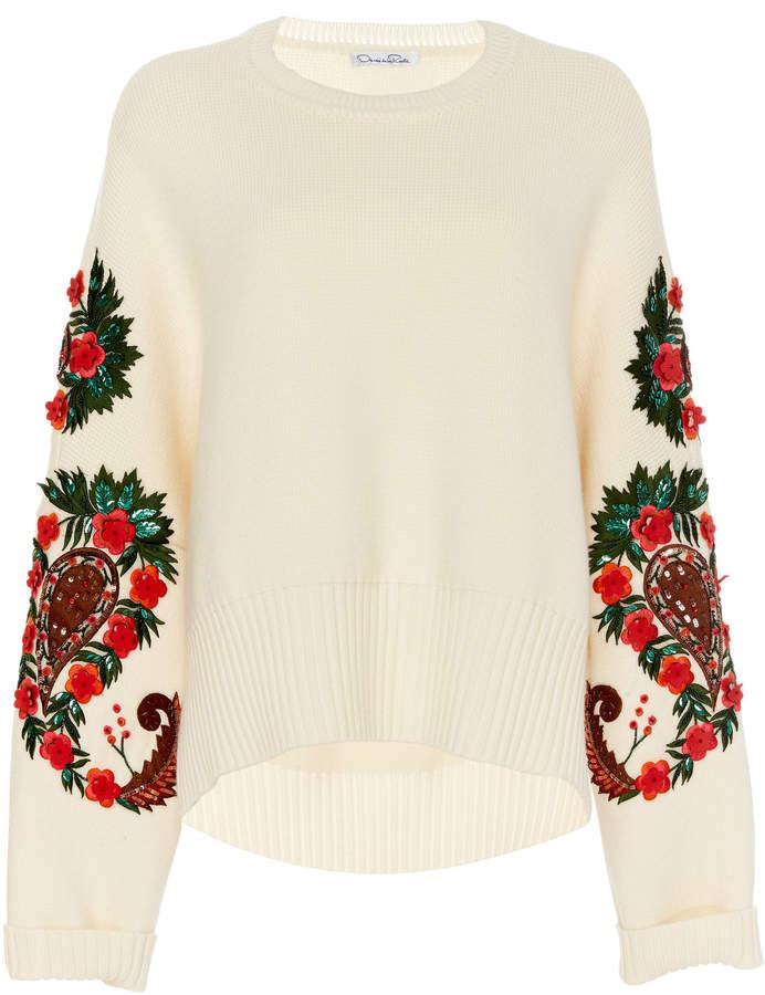 Oscar de la Renta Floral-Embroidered Wool Sweater