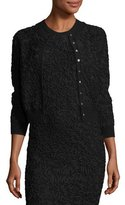 Michael Kors Soutache Embroidered 3/4-Sleeve Cardigan, Black
