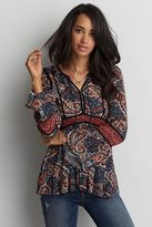 American Eagle Outfitters AE Bell Sleeve Floral Shirt