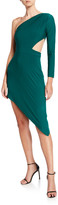One-Shoulder Asymmetric Jersey Cutout Dress