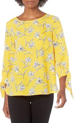 Nine West Women's Printed Long Blouse with TIE Sleeve