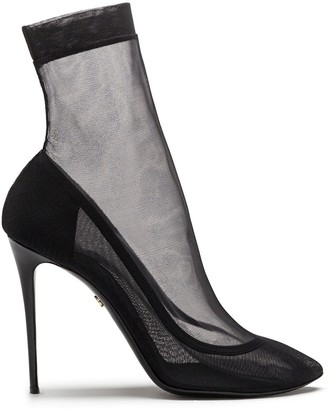 Dolce & Gabbana Tulle Stiletto Ankle Boots