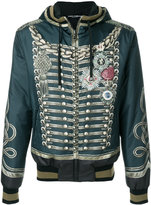 Dolce & Gabbana military print hooded bomber jacket