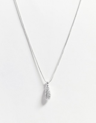 Pilgrim crystal silver plate emery necklace in silver