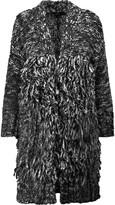 Maje Oversized fringed knitted cardigan