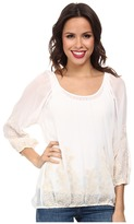 Miraclebody Jeans Becca Peasant Top w/ Body-Shaping Inner Shell