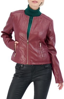 Sebby Collection Collarless Faux Leather Jacket