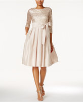 Jessica Howard Sequined Sash Fit & Flare Dress