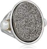 "Honora ""Rock Star"" Freshwater Cultured Pearl and Silver Agate Drusy Ring, Size 7"