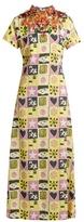 Miu Miu Embellished short-sleeved motif-print crepe gown