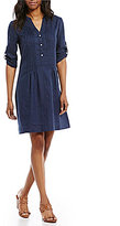 J.Mclaughlin Riviera Split Neck 3/4 Sleeve Button Front Dress