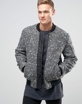 Asos Wool Mix Bomber Jacket With MA1 Pocket In Salt and Pepper