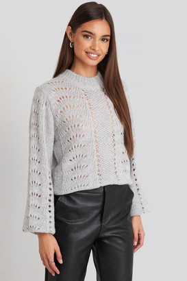 NA-KD Pattern Knitted Round Neck Sweater Beige