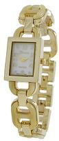 Geneva Platinum Bone & Gold Oval Open-Link Bracelet Watch