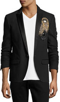 Balmain Embellished Badge Blazer, Black