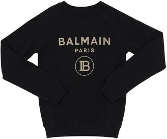 Balmain Glitter Logo Cotton Sweatshirt