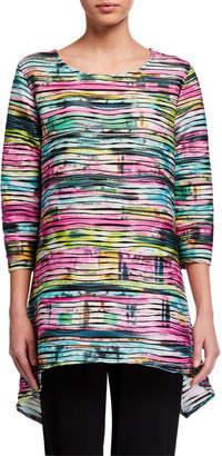 Caroline Rose Tie Dye Side-Fall 3/4-Sleeve Tunic