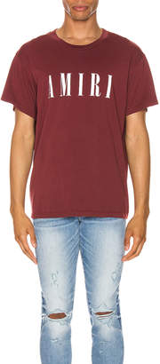 Amiri Logo Tee in Burgundy & White | FWRD