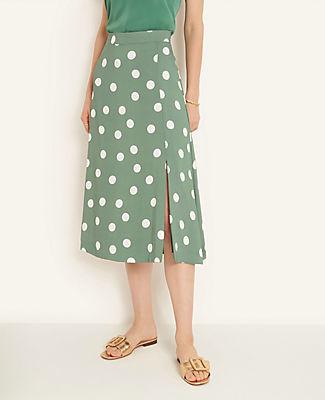 Ann Taylor Tall Summer Dot Front Slit Skirt
