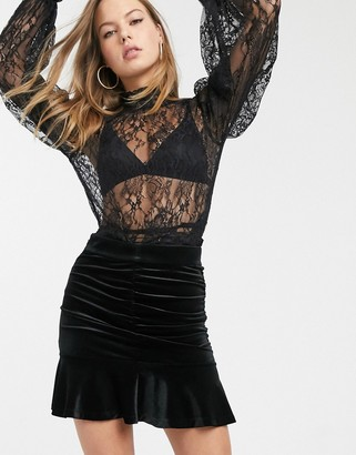 And other stories & velvet ruched mini skirt in black