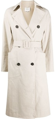 Vince Linen Side Slit Trench Coat