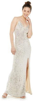 Speechless Juniors' Deep V-Neck Sequin Maxi Dress