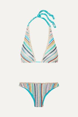 Missoni Mare Metallic Crochet-knit Triangle Bikini - Blue