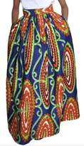 Moxeay Women African Print High Waist Pleated Flared A Line Maxi Skirt